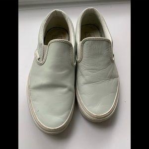White All Leather Slip on Vans